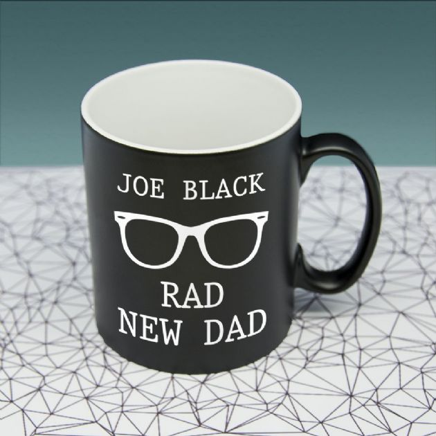 Rad New Dad Black Matte Mug